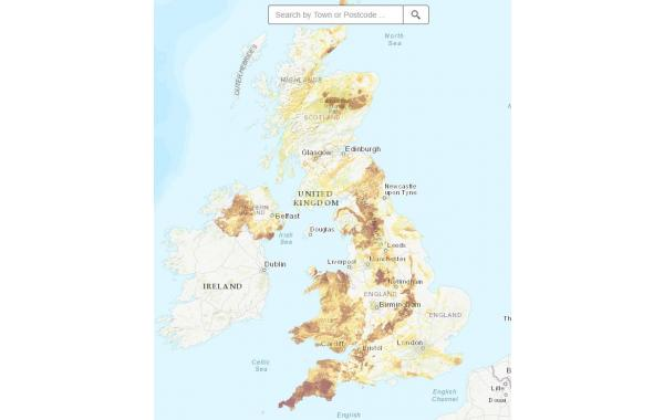 Map of UK Radon levels - Radon Water Treatment and Testing in the UK