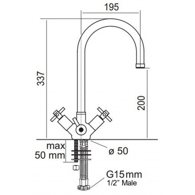 Osmio Kensington 3 Way Triflow Kitchen Tap Dimensions
