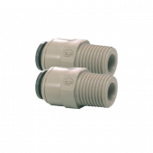 "1/4"" Push Fit to 1/4"" BSP Male Straight Connector Dual Pack"