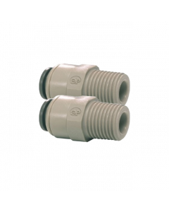 """1/4"""" Push Fit to 1/4"""" BSP Male Straight Connector Dual Pack"""