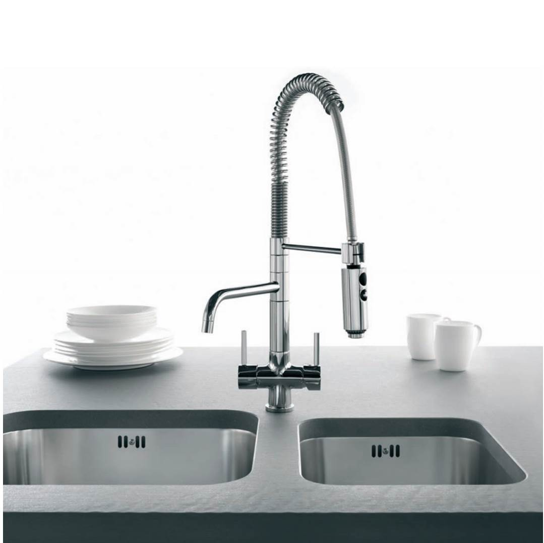 3 Way Tap Triflow Tap Kitchen Mixer with Spray Hose Osmio Azzurra