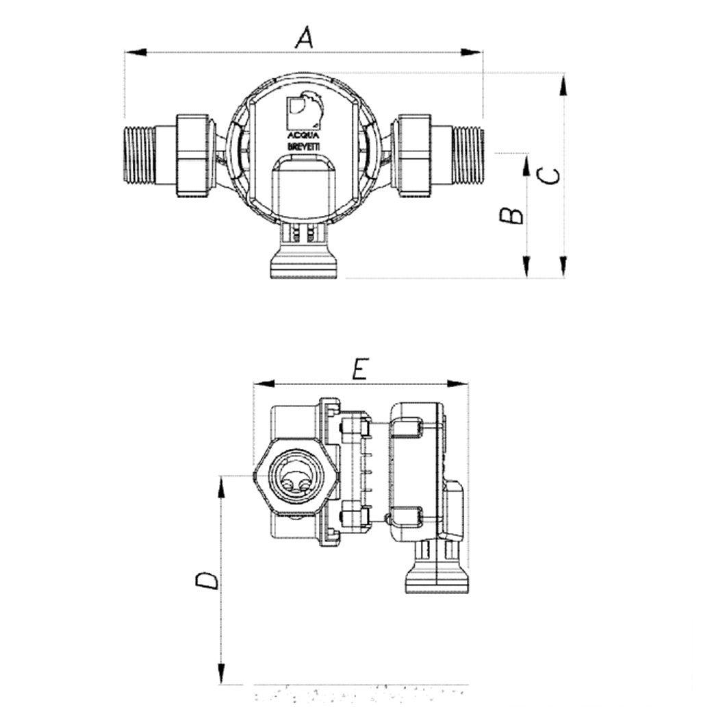 Acqua Brevetti MiniDUE 3 quarter inch Diagram